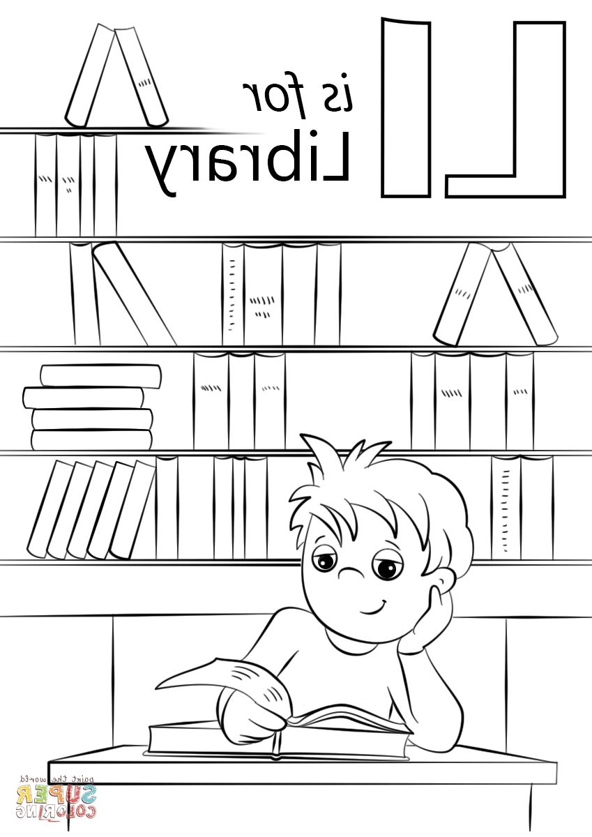 Library Coloring Pages | Coloring Page | Coloring pages ...