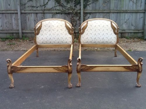 Stupendous Pair Antique Swan Beds Twin Signed Italy Chic Figural Wood Creativecarmelina Interior Chair Design Creativecarmelinacom