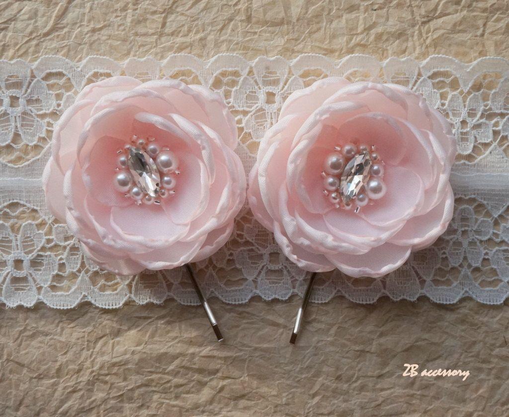 Pale Pink Hair Flowers Bridal Hair Accessories Pink Bridesmaids