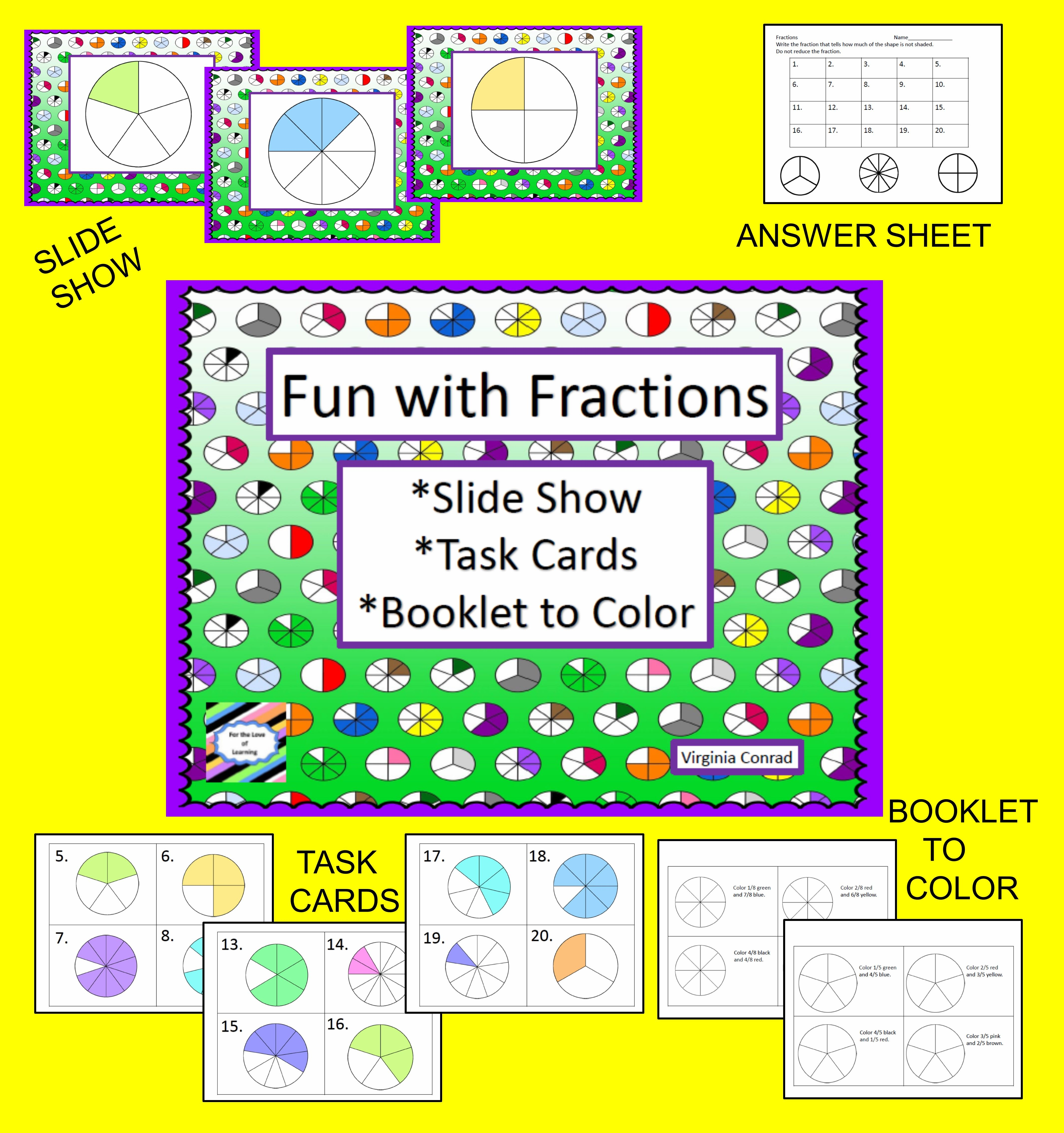 Fraction Action--slide show, center, and more | Action, Math and ...