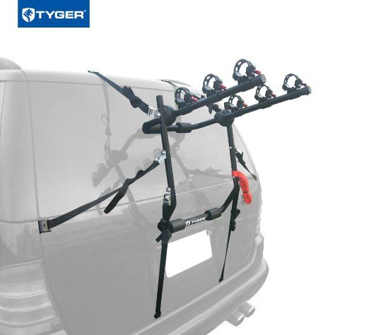 Tyger Deluxe Black 3 Bike Trunk Mount Bicycle Carrier Rack Fits