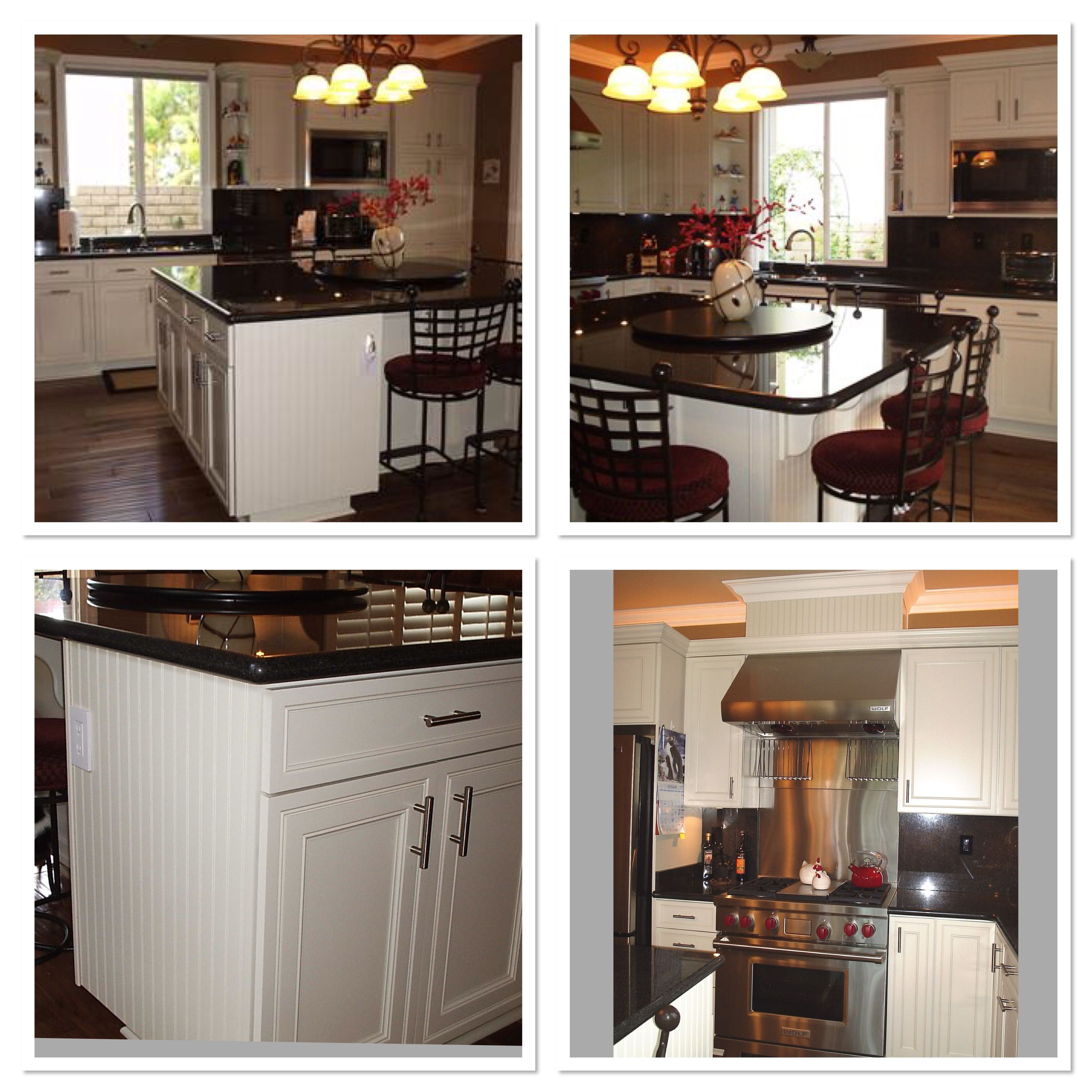 White painted cabinets with beaded board accents in ...
