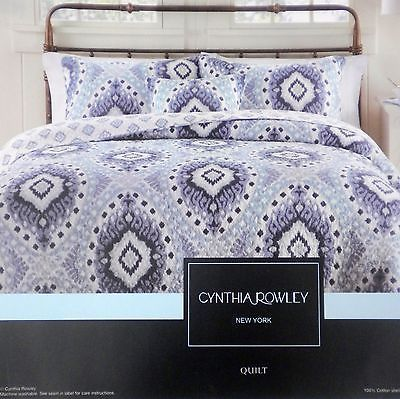 Cynthia Rowley Blue Ikat Medallion 3pc King Quilt Set New