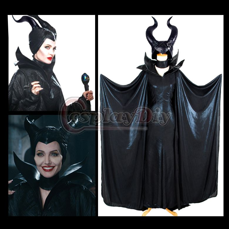 Maleficent Black Long Cosplay Costume Withch Cosplay Cloak