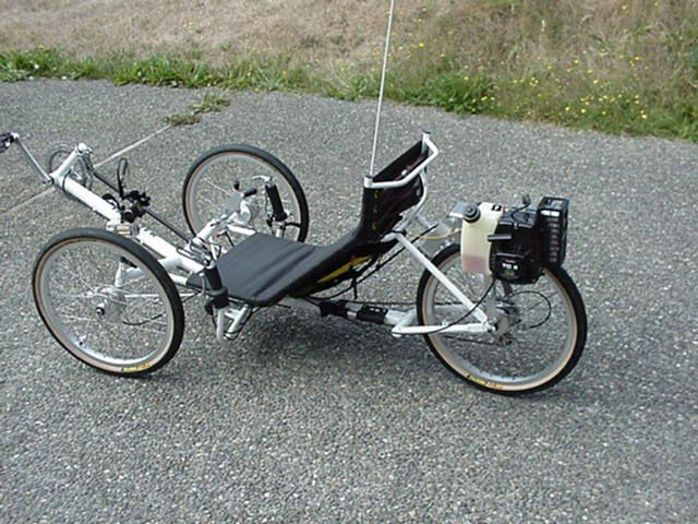 Recumbent Trike with Weedeater Motor on it. Sweet!!