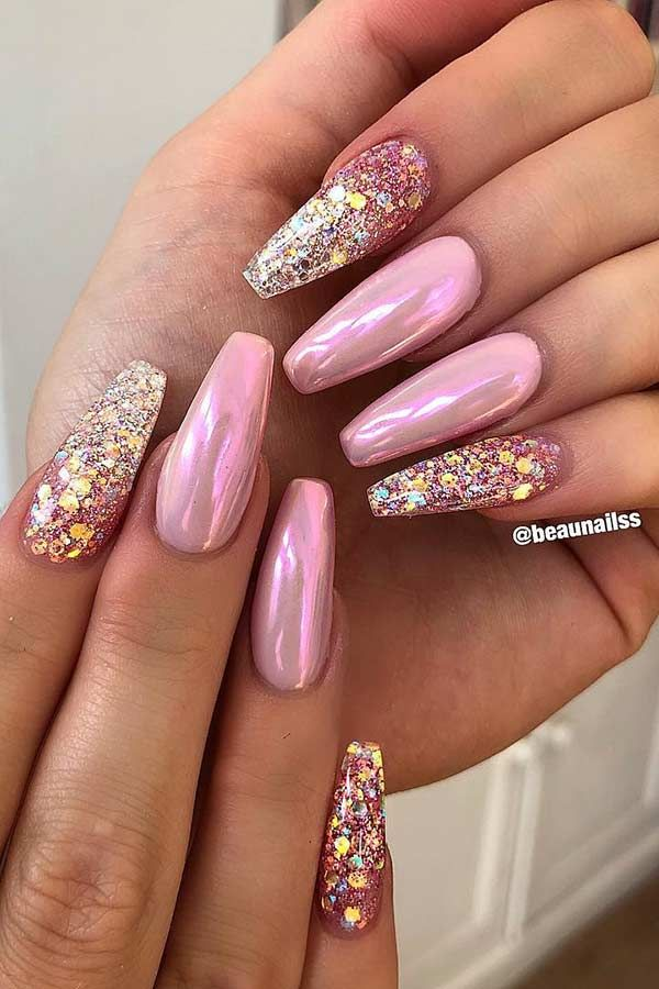 43 Crazy Gorgeous Nail Ideas For Coffin Shaped Nails Pink Chrome Nails Coffin Shape Nails Sparkly Nails