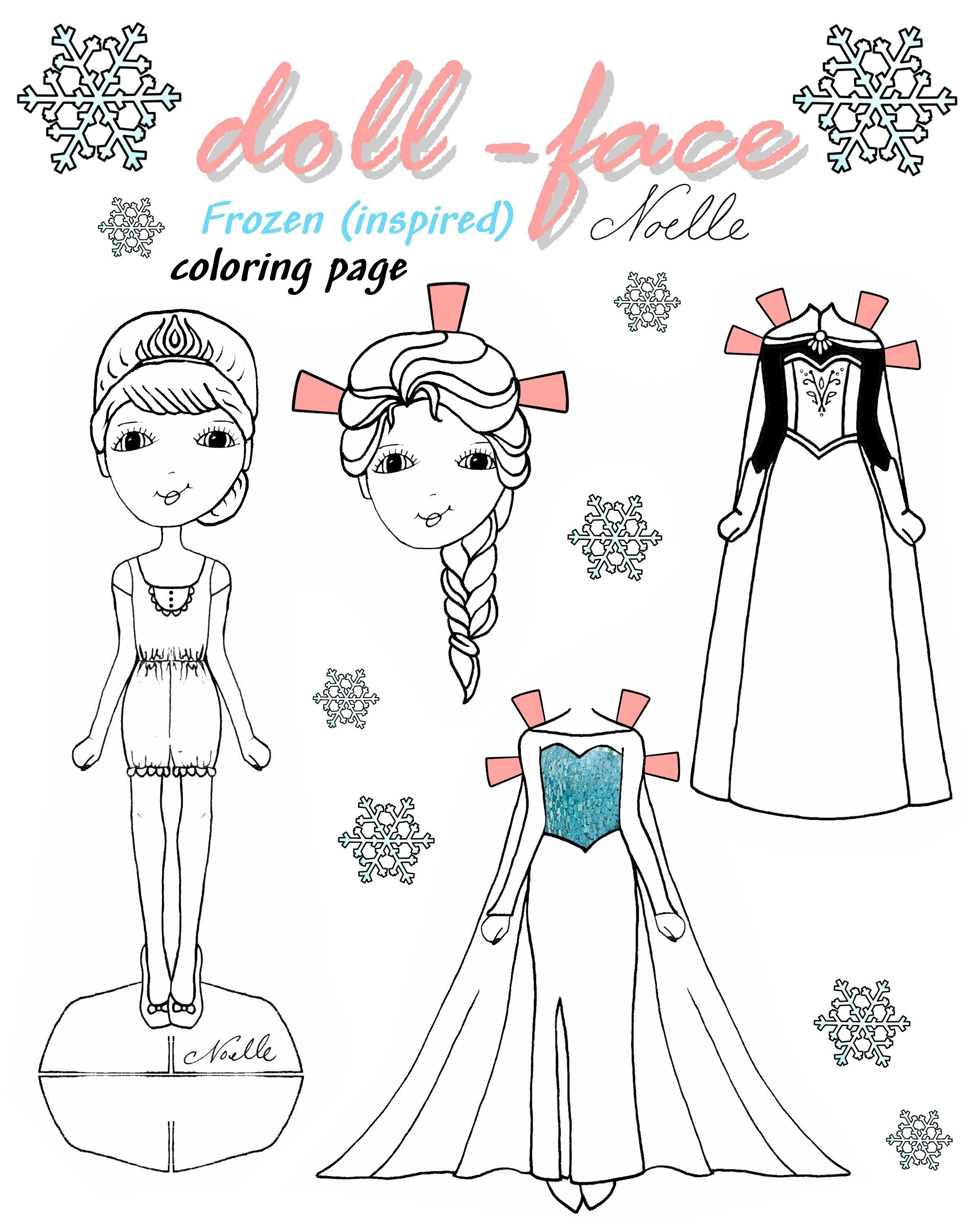 Doll Face Elsa Coloring Page Diy Frozen Inspired Paper Doll