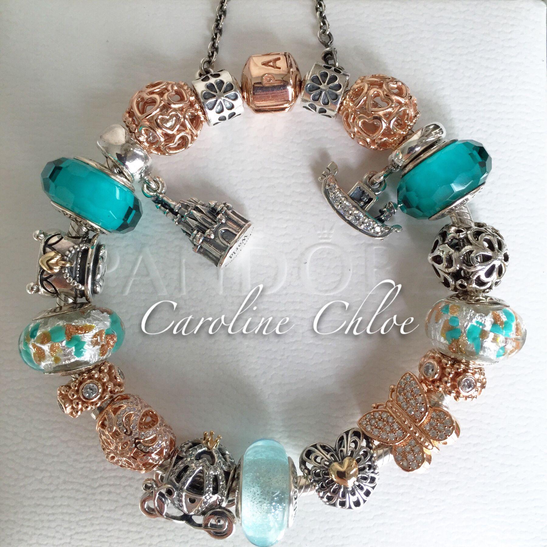 Pandora rose and teal | Pandora jewelry, Rose gold jewelry ...