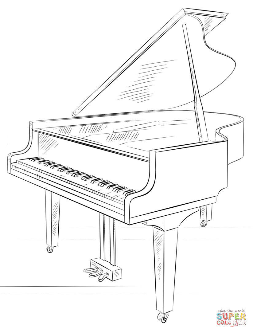Piano Coloring Page Grand Lesson Pages Print Keyboard Free