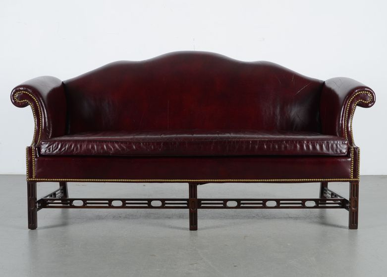 Prime Hancock Moore Chippendale Style Burgundy Leather Camelback Ibusinesslaw Wood Chair Design Ideas Ibusinesslaworg
