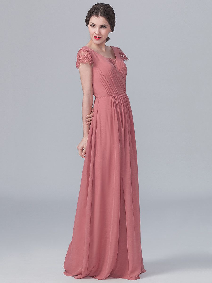 Lace and Chiffon Dress; Color: Dusty Rose; Sizes Available: 2-26W ...