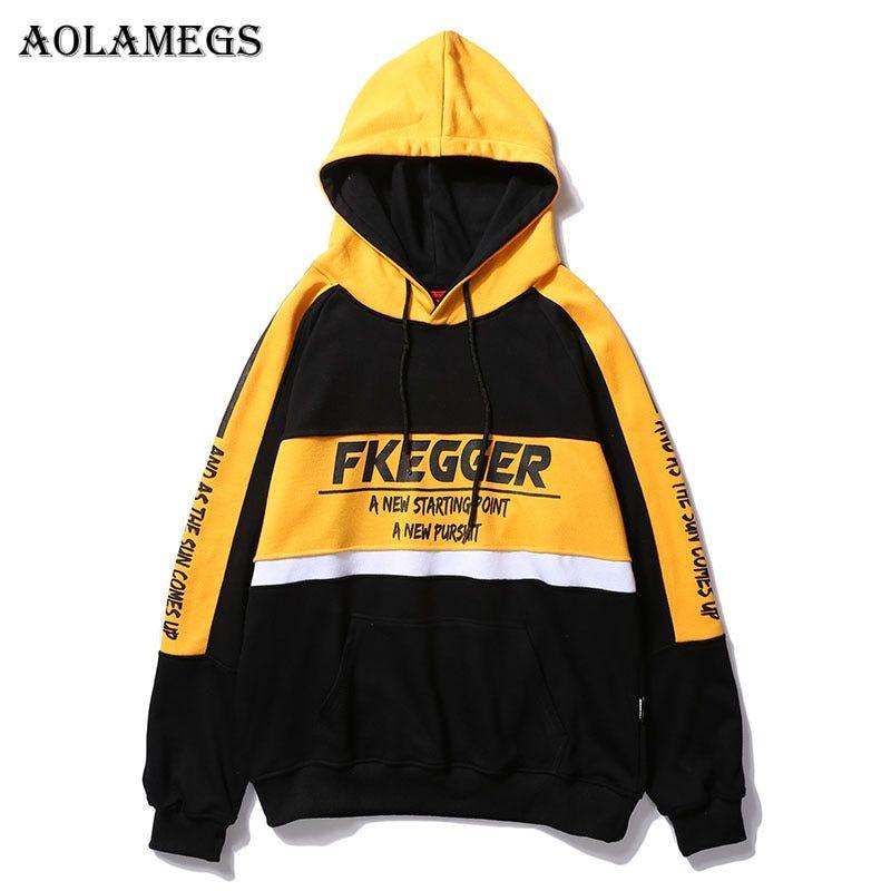 41f0745b881 Men Harajuku Hoodie Sweatshirt Hip Hop Retro Color Block Streetwear  Embroidery Hooded Pullover Fleece Cotton Autumn Winter A448033 in 2019