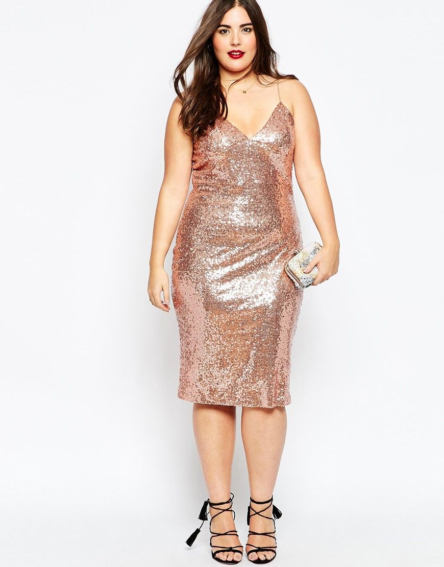 b9a1a16d Club L Plus Size Cami Dress In Sequins | wedding | Dresses, Gold ...