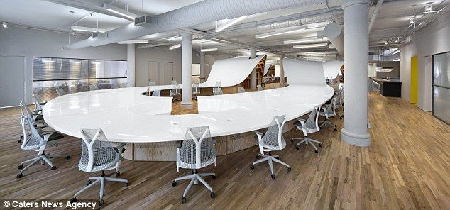 Worlds Biggest Desk Installed In New York Marketing Firm Barbarian Group