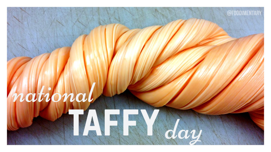 """#20160523 #May23rd #USA #NationalDayCalendarUSA #NationalTaffyDay #TAFFY @Foodimentary Five Facts about Taffy: 1.Salt water taffy was """"invented"""" in Atlantic City in 1883.2.Modern technology allows confectioners to produce 1,000 pieces of taffy a minute. 3.In one hour enough pieces of taffy are made to cover one third of the length of Atlantic City (about 1.3 miles)... https://foodimentary.com/2016/05/23/may-23-is-national-taffy-day/"""