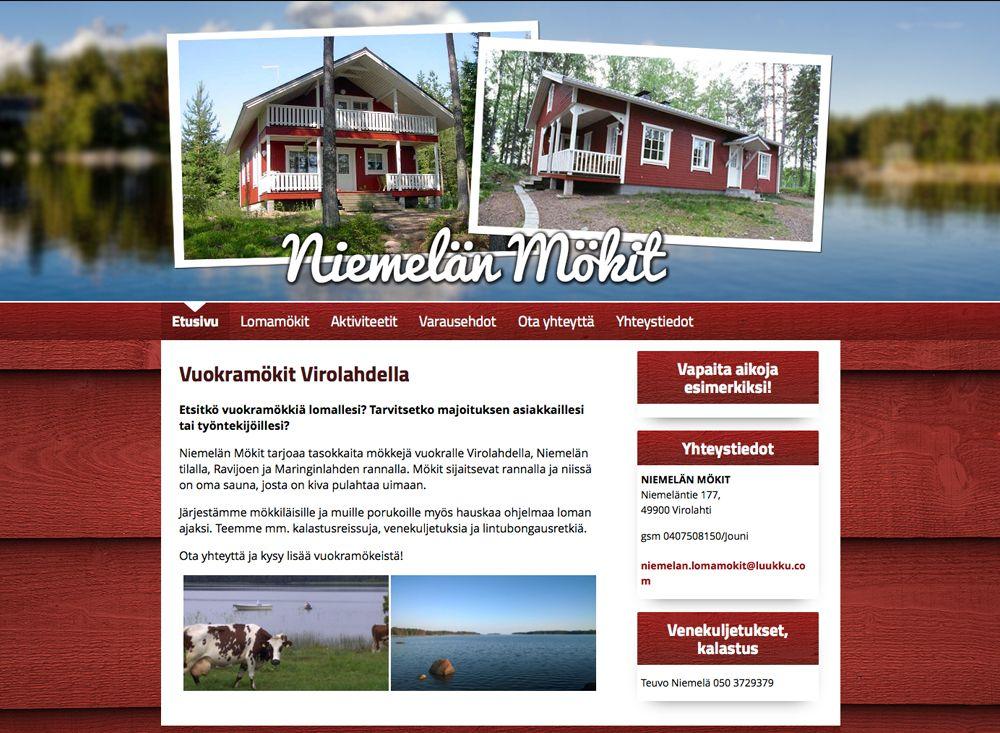 Niemelän Mökit tarjoaa vuokramökkejä Virolahdella. Kotisivut suunniteltiin ja toteutettiin Kotisivukoneen Avaimet käteen -palvelussa.