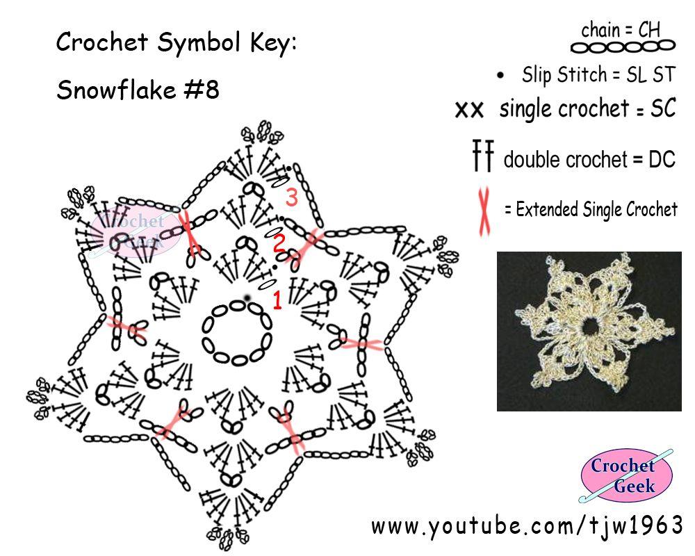 Crochet SnowFlake #8 Symbol Chart - Crochet Geek   Schneeflocke ...