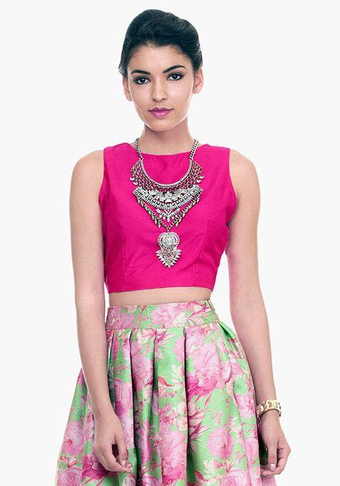 7c1fad5b8f Fuchsia Fame Silk Crop Top Online | Woman Style | Crop tops, Fashion ...