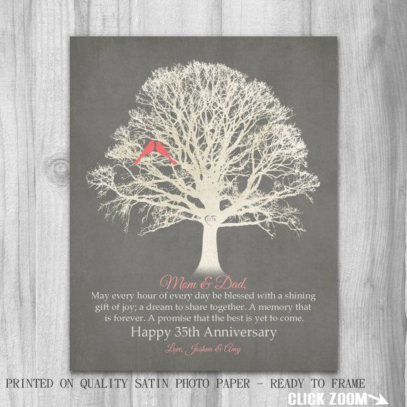 What Is The 35th Wedding Anniversary Gift: 35th Anniversary Canvas Or Print Gift For Parents Gift Mom