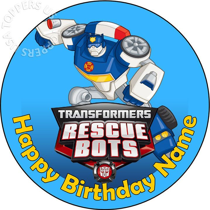 Details about EDIBLE Transformers Rescue Bots Party Cake ...