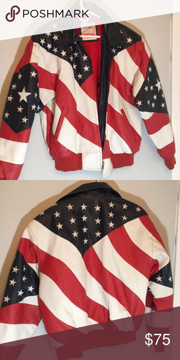 Vintage Retro Usa Flag Leather Jacket Vintage Leather Jacket Vintage Jacket Retro Vintage