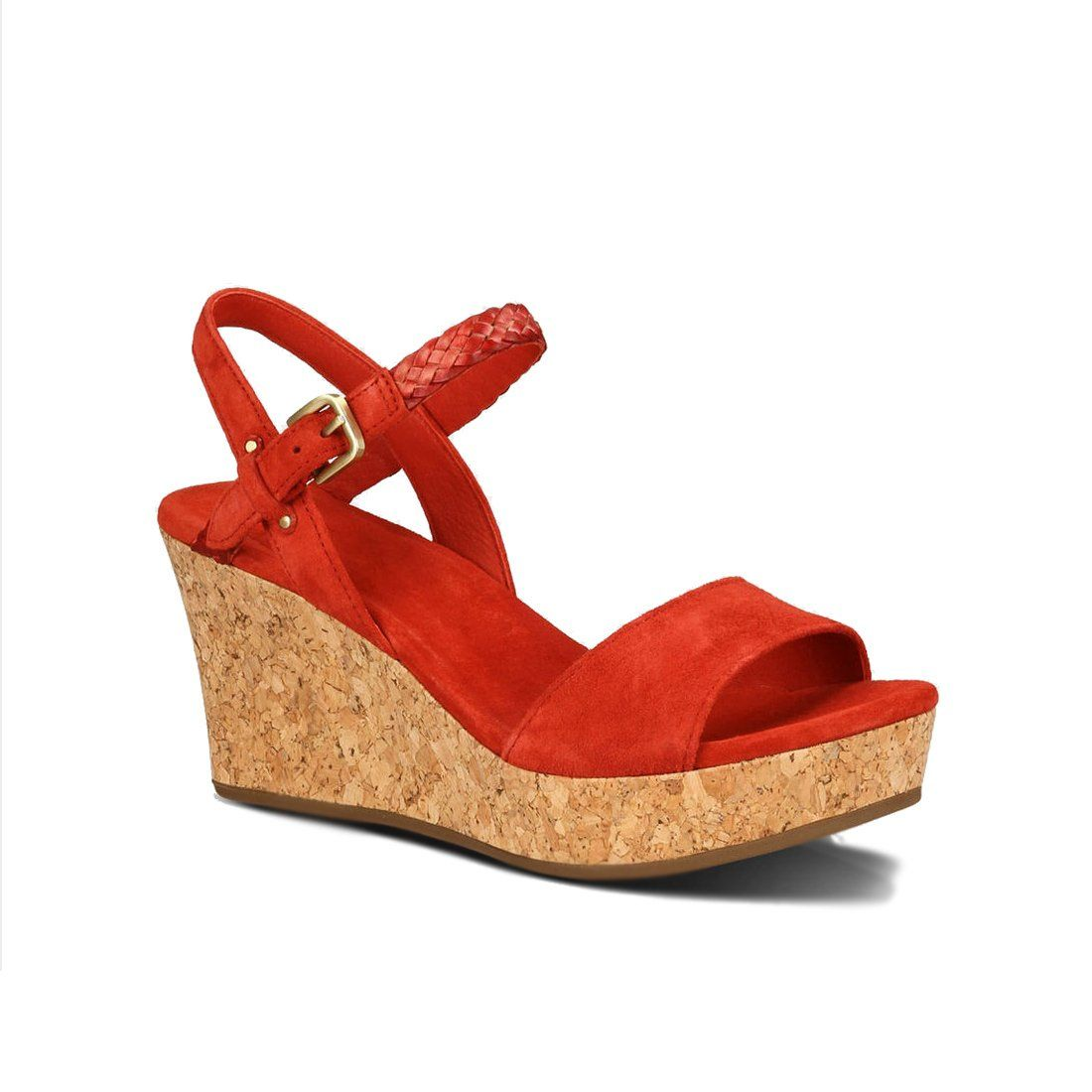 "New UGG Women's D'Alessio Leather Braid Wedge Sandal Tomato Soup Suede 7.5. Cheerfully chic, D'Alessio's butter-soft suede upper with hand antiquated leather braid adds an extra dose of optimism to everything from tried-and-true denim to retro-inspired circle skirts. Ultra-wearable and unbelievably lightweight, this 3"" sculpted cork wedge features an extra-cushioning, plush Poron footbed, so you can enjoy those extra hours of sunshine in ultimate UGG comfort."