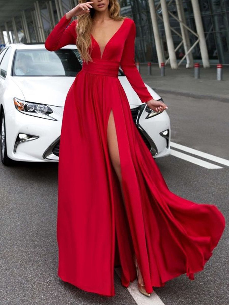 V neck red swing women elegant long sleeve solid prom dress in