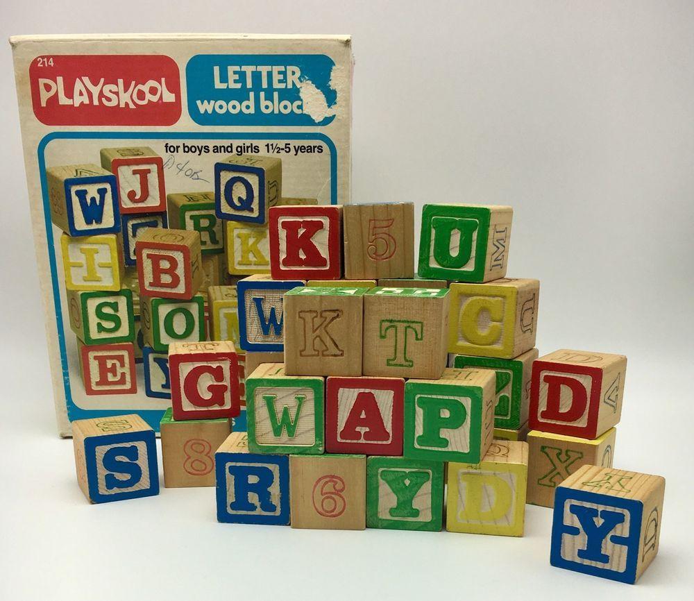 Vintage Playskool Letter Wood Blocks Original Box Complete Set 214