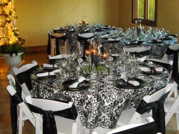 Black And White Damask Wedding Reception Decor Weddings Damask