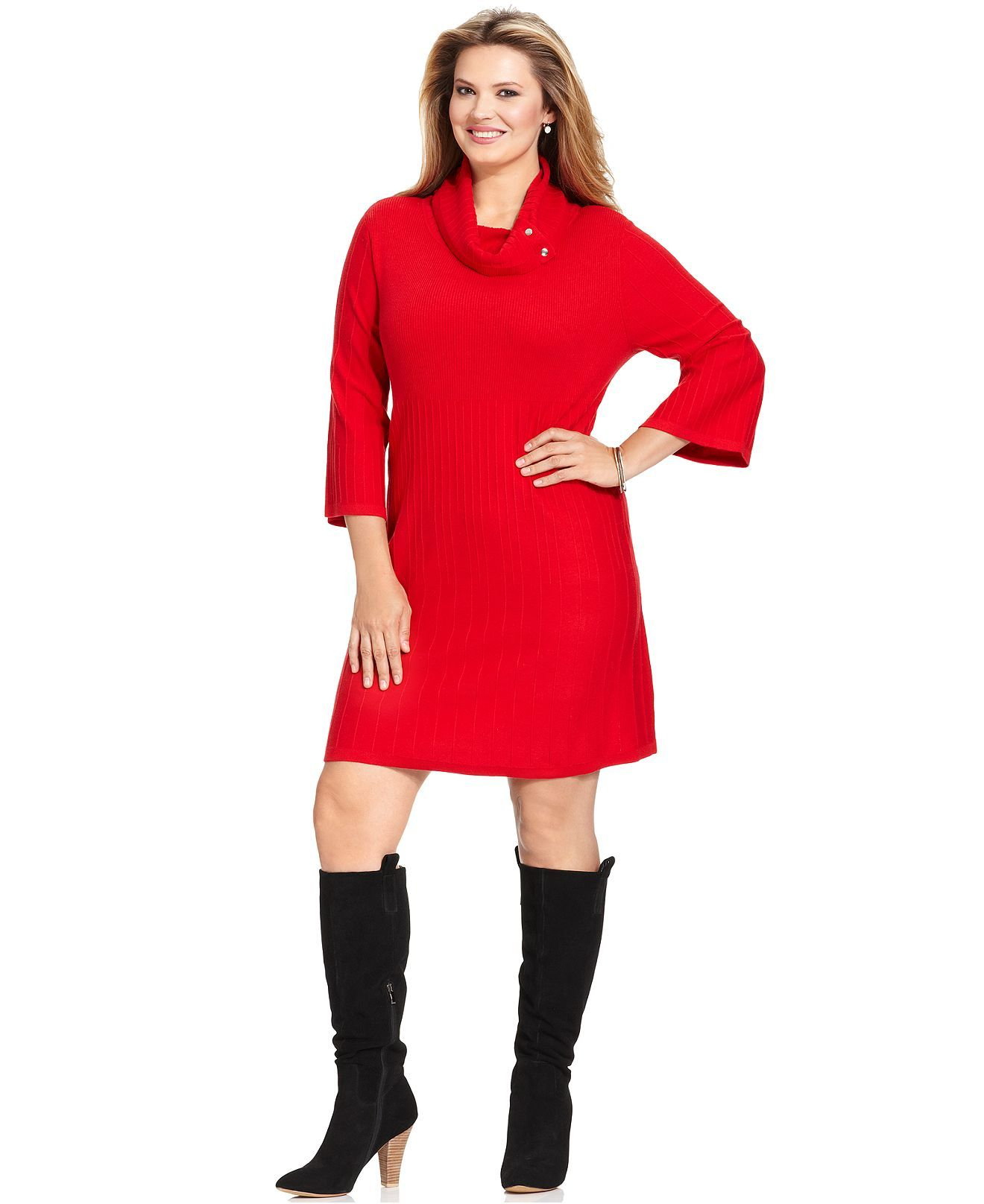 Styleco Plus Size Three Quarter Sleeve A Line Sweater Dress Plus
