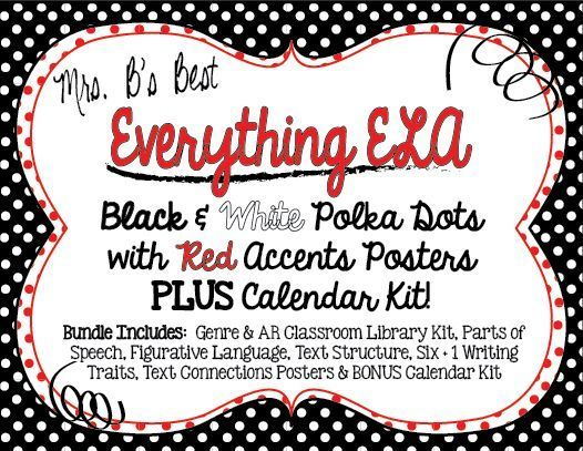 Bundled for savings all ela black and white polka dot with red accents posters