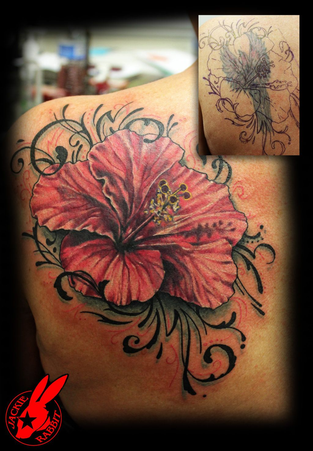 Flower Tribal Cover Up Tattoo By Jackie Rabbit By Jackierabbit12