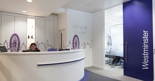 CityWest Homes Office branding wall graphics and printed large format office decor designs.
