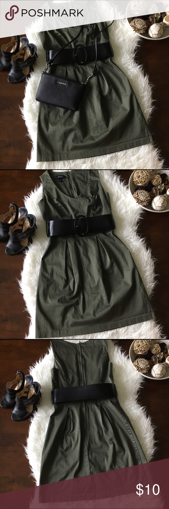 Olive Dress With Belt Great used condition. Previously LOVED. Classy olive dress with wide faux snake skin belt. Flattering neckline. No tears, holes, or stains. Smoke free home. No trades please. Dresses