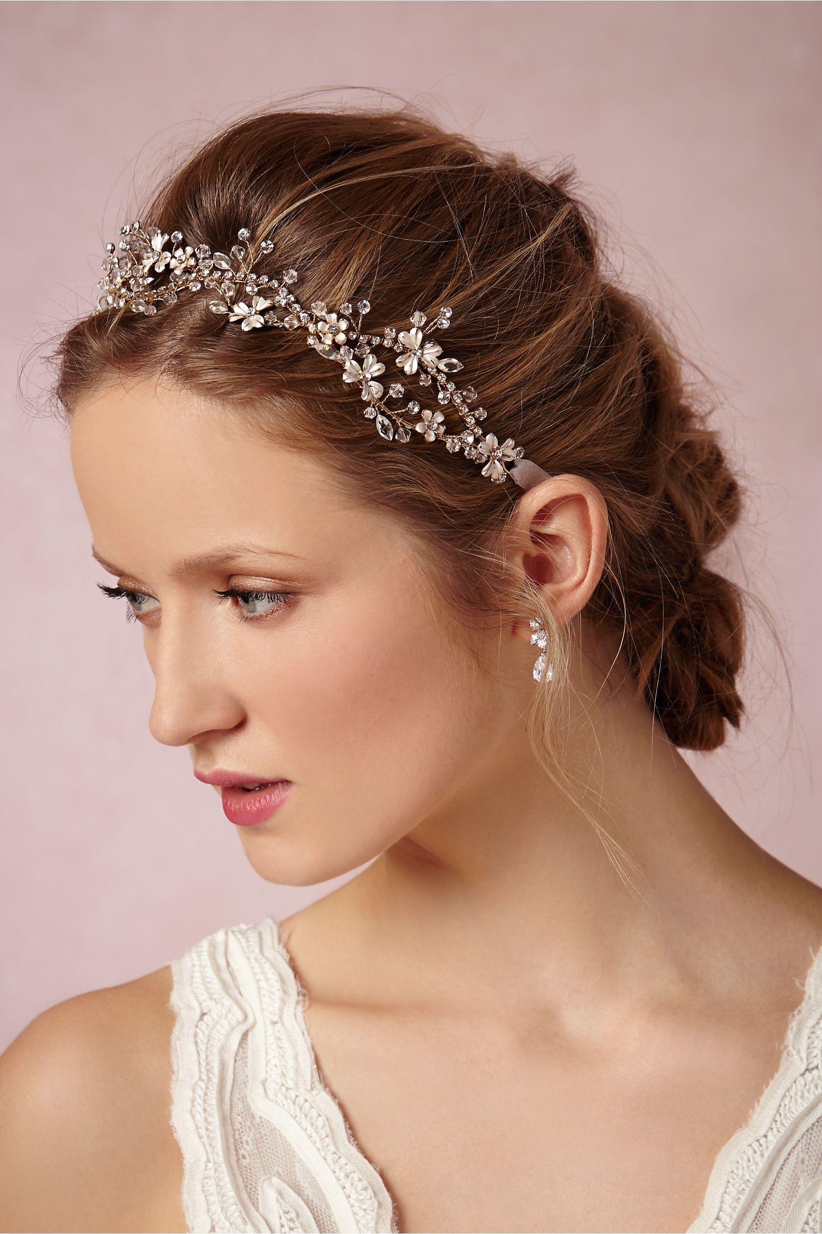 wedding hair with headband and veil