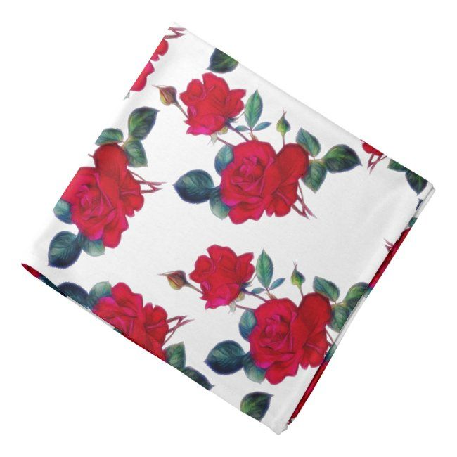 Red Red Roses Garden Bandana #bandana #neckerchief #scarf #red #roses#botanical #gifts #gardenstyle #flowers #vintage #floral