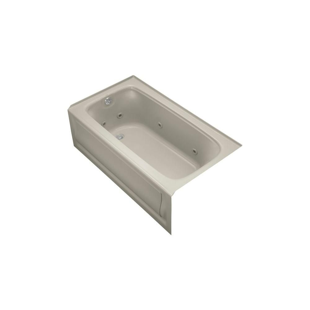 KOHLER Bancroft 5 ft. Acrylic Left Drain Rectangular Alcove Whirlpool Bathtub in Sandbar