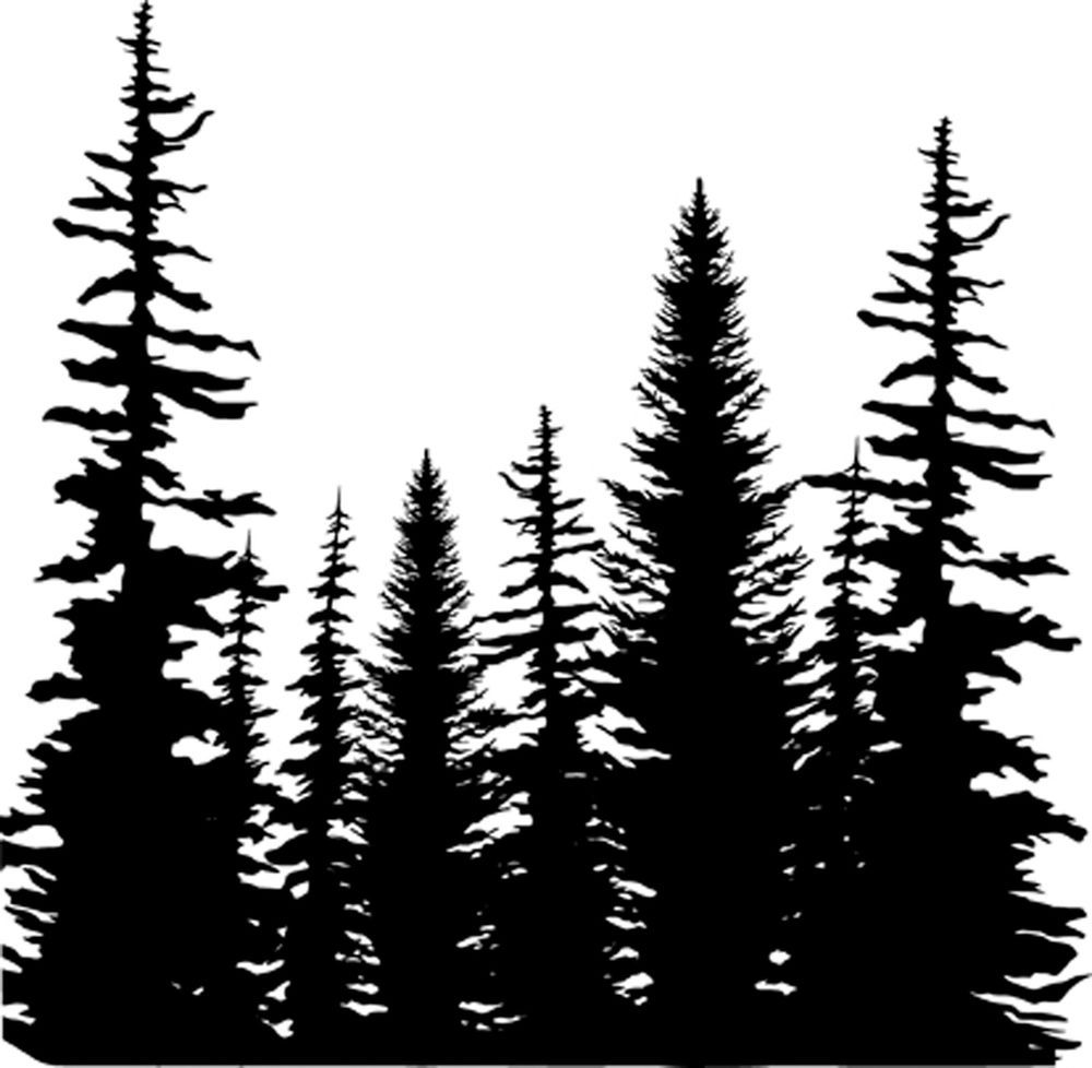 Tree Line Cover A Card Background Unmounted Rubber Stamp Impression Obsession