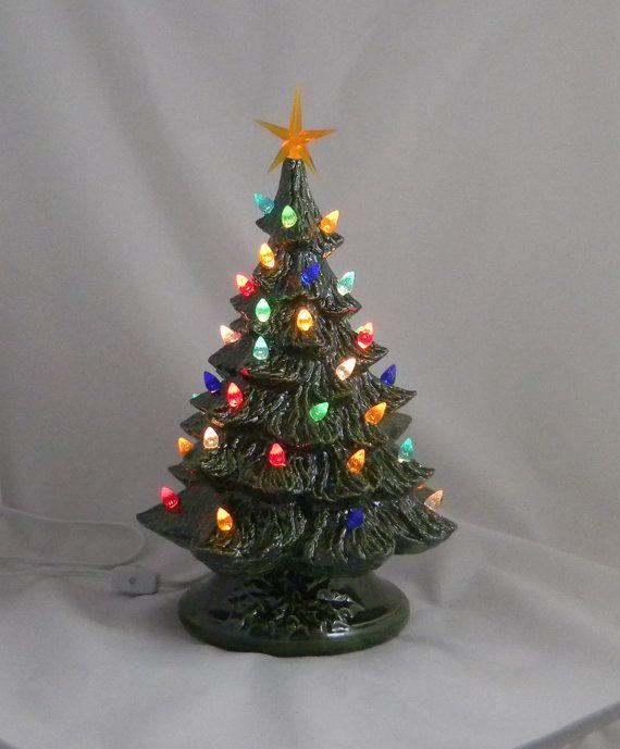 16 Inch Ceramic Christmas Tree Led Light Green Tree Etsy Led Christmas Tree Lights Ceramic Christmas Trees Green Christmas Tree