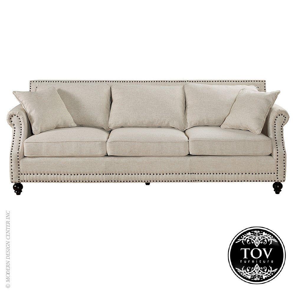 Camden Beige Linen Sofa By Tov Furniture Linen Sofa Sofa Beige