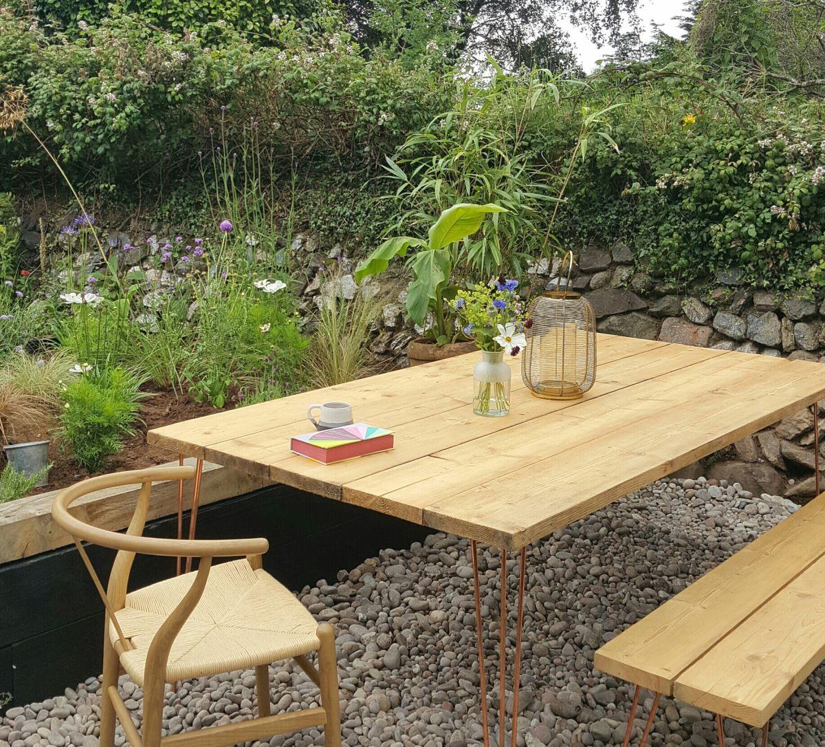 My Beautiful Copper Hairpin Garden Table Alice In Scandiland Garden Table Backyard Table Wooden Outdoor Table
