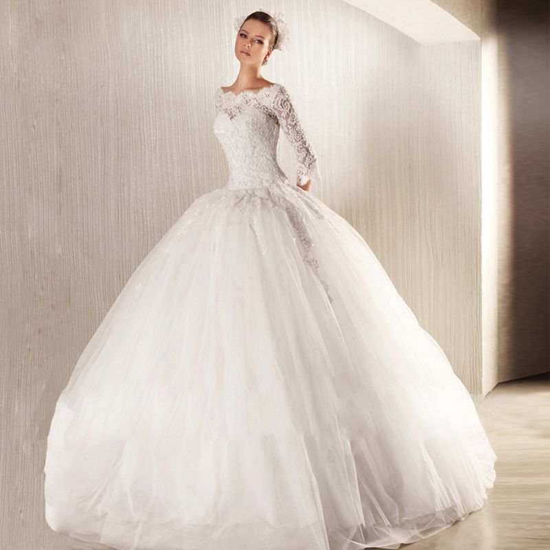 QQ Lover 2017 New Arrival Amazing Elegant Long Sleeves Wedding Dress Crystal Beaded Gowns Lace Vestido De Noiva