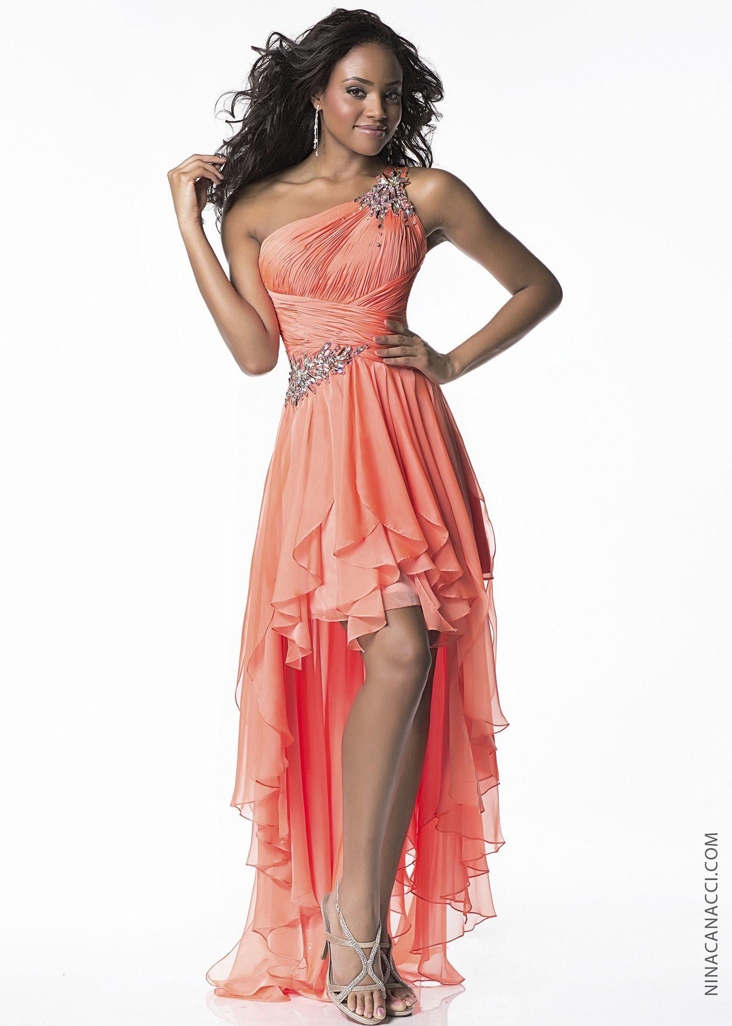 Nina canacci w orange beaded high low prom dresses online