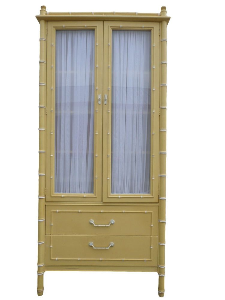 Thomasville Allegro Faux Bamboo China Cabinet Hutch Regency Chinese  Chippendale #Thomasville #HollywoodRegency