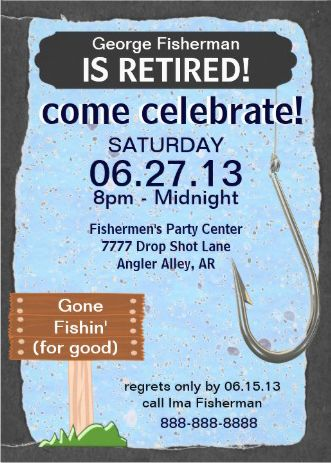 shop fishing retirement party celebration invitation created by quality_cards personalize it with photos text or purchase as is