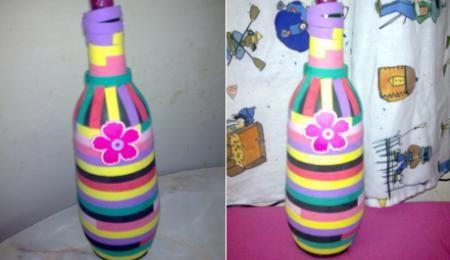 Botella Decorada Con Goma Eva Enviada Por Liza Como Decorar Botellas Manualidades Con Botellas Manualidades