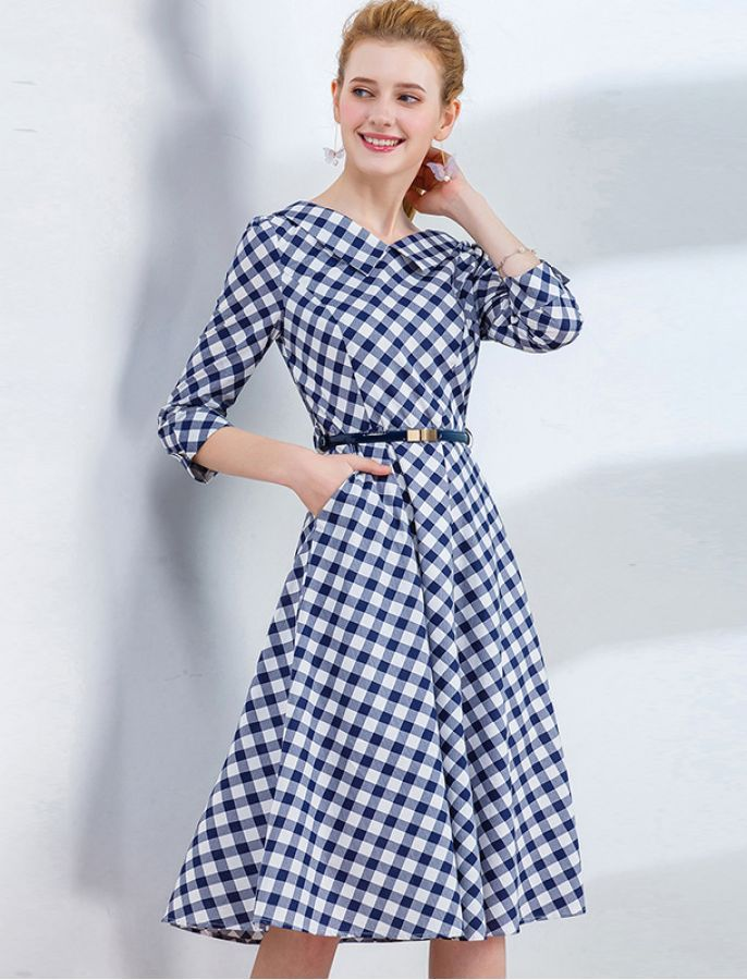 Great In Gingham Midi Work Dress 1940s 1950s Vintage Inspired Retro Dress Vintage Midi Dresses Retro Dress Fashion