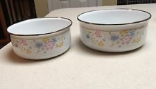 Vintage Metal Enamelware Nesting Mixing Bowls Set Of Two Floral ...