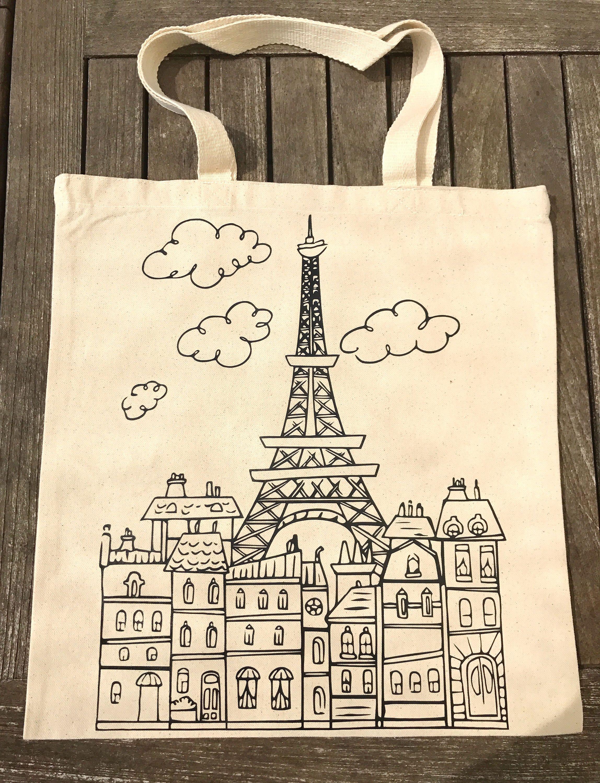 Eiffel Tote French Canvas TowerTravel BagParis hCrsQdt