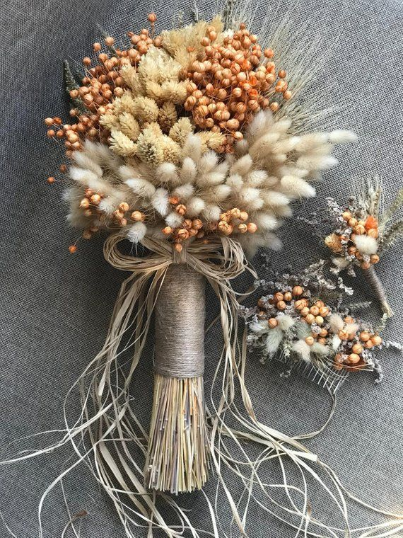 Wedding Dried Flowers Bouquet Set - Bride Bouquet, Boutonniere, Comb Clasp (3 Pieces) #flowerbouquetwedding